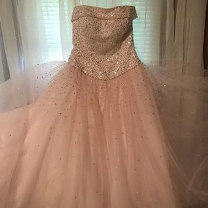 Pink beaded ball gown